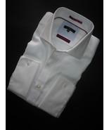 Mens dress shirt, pure white twill weave, cutaway collar, double cuff, s... - $29.50