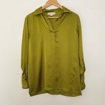 Michael Kors S Small Diamond Print Long Sleeve Collared Popover Green Bl... - $18.19
