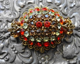 Vintage Listner Rhinestone Pin/Brooch Fall Colors Gold Tone Metal - $24.75