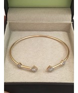 14K Polished Yellow Gold Women's Open Bangle Diamond Bracelet 1CTW - $650.00