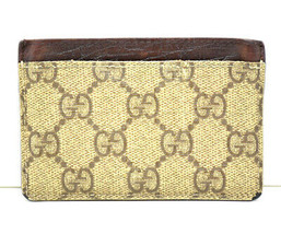 Authentic Gucci Mens Canvas & Leather Card Holder Wallet Brown Beige - $74.85