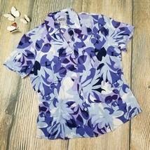 STYLE & CO COLLECTION sz 6P 100% silk floral print short sleeve shirt EU... - $7.92