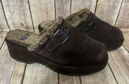Stuart Weitzman Sz 7.5M Brown Suede Shearling Sherpa Clogs Mules Shoes - $32.33