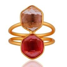 18K Gold Plated 925 Sterling Silver Amethyst Pink Corundum Gemstone Ring... - $20.00
