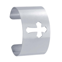 Sterling Silver Flared Cross Cut-Out Design Cuff Bracelet - $249.99