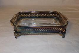 Vintage Rectangular Glass Fire King Casserole Bowl w Silverplate Holder - $71.45