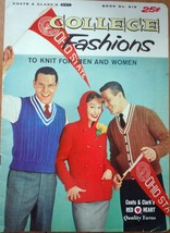 Vintage Coats & Clark's College Fashions To Knit For Men & Women 1957 - $4.99
