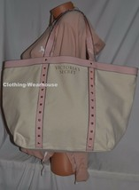 Victoria's Secret Limited Edition Beige Stud Canvas Pink Gold Tote Purse Bag New - $24.99