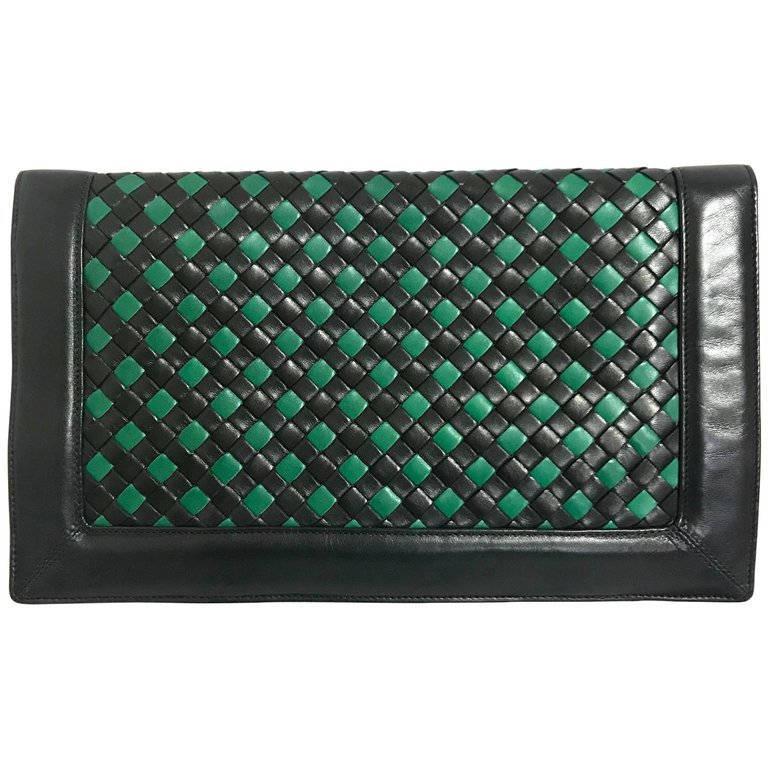 Vintage Bottega Veneta intrecciato navy and green woven lamb leather large clutc - $522.00