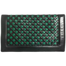 Vintage Bottega Veneta intrecciato navy and green woven lamb leather lar... - $522.00