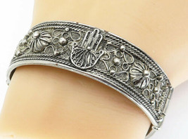 925 Sterling Silver - Vintage Hamsa Floral Twist Heavy Bangle Bracelet -... - $201.49