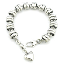 High Polished Stainless Steel Heart Charm Bracelet Women Or Men Fashion ... - £9.11 GBP