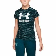 Under Armour Girls Tandem Teal Big Logo Novelty Short Sleeve T Shirt New... - $14.84