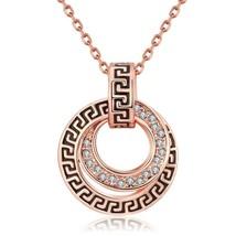 Aventura 18K Rose Gold Greek Key Medallion Necklace with Swarovski Crystals - $9.79