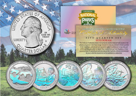 2017 America The Beautiful HOLOGRAM Quarters U.S. Parks 5-Coin Set w/Cap... - $12.82