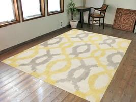ikat Yellow 5'x8' ft Contemporary Handmade Tufted Modern Design 100% Woo... - $187.11