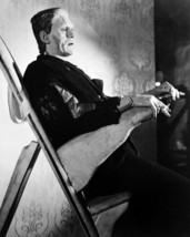 Boris Karloff 8x10 Photo in make up chair with cigarette in Frankenstein outfit - $7.99