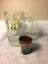 2) ROUTE 66 GLASSES--BEER MUG / SHOT GLASS--THE MOTHER ROAD-----FREE SHI... - $24.40