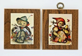 Hummel Wall Plaques Boy and Girl Sitting w/ Animals Vintage Genuine Pair... - $19.77