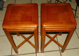 Pair of Pecan Book Match Veneered Tea Tables / End Tables by Drexel - $499.00