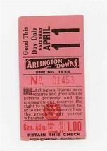 Arlington Downs Ticket Stub Arlington Texas Horse Racing Track April 1936 - $47.52