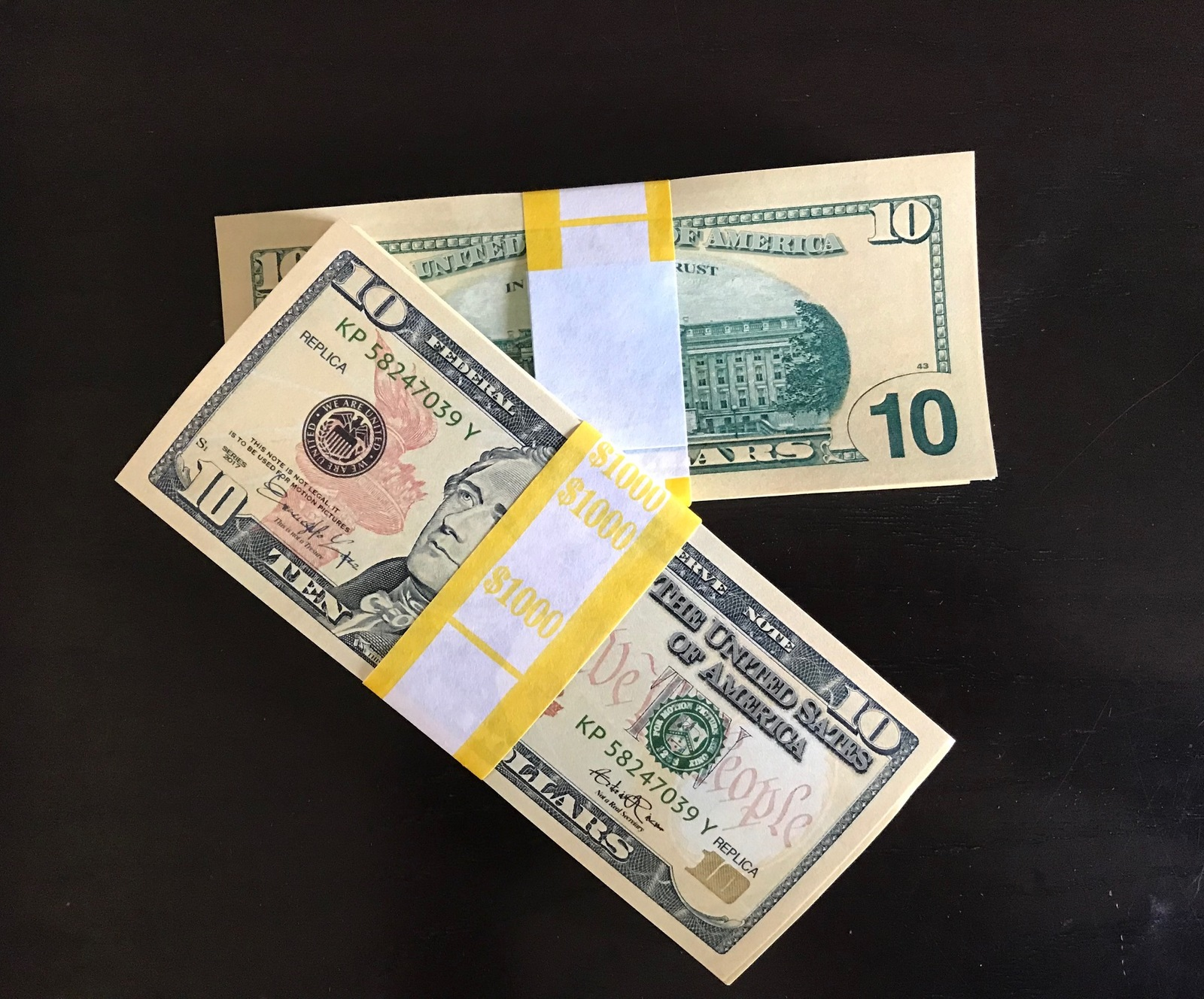 1.000 PROP MONEY REPLICA 10s All Full Print For Movie Video Films etc. image 2