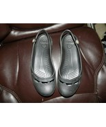 Crocs Jayna Ballet Flat Slingback Shoes with Flower Accent Black Size 10... - $28.35