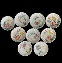 Miniature Dish Set 9 Tea Bag Holder Bird Floral Trinket Ceramic Painted ... - $24.74