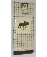 MOOSE Dish Towel Set (3) Plaid Embroidered Off White Brown Maroon Kitche... - $18.80