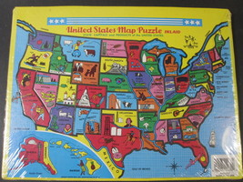 United States Inlaid Map Puzzle & Color Your Own US Map Puzzle New*Tee P... - $9.85