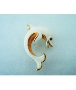Vintage Crown Trifari Goldtone White Enamel Dolphin Pin Brooch - $17.00