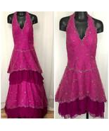 Posh Precious Formals Sz 4 Magenta Beaded Ball Gown Dress Detachable Ski... - $66.30