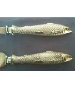 Vintage Carving Knife Fork Set Fish Head Handles Stainless Steel Cutlery... - $37.39