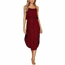 Happyon Women's Summer Dress Casual Side Split Sleeveless Dress Solid Be... - $21.06