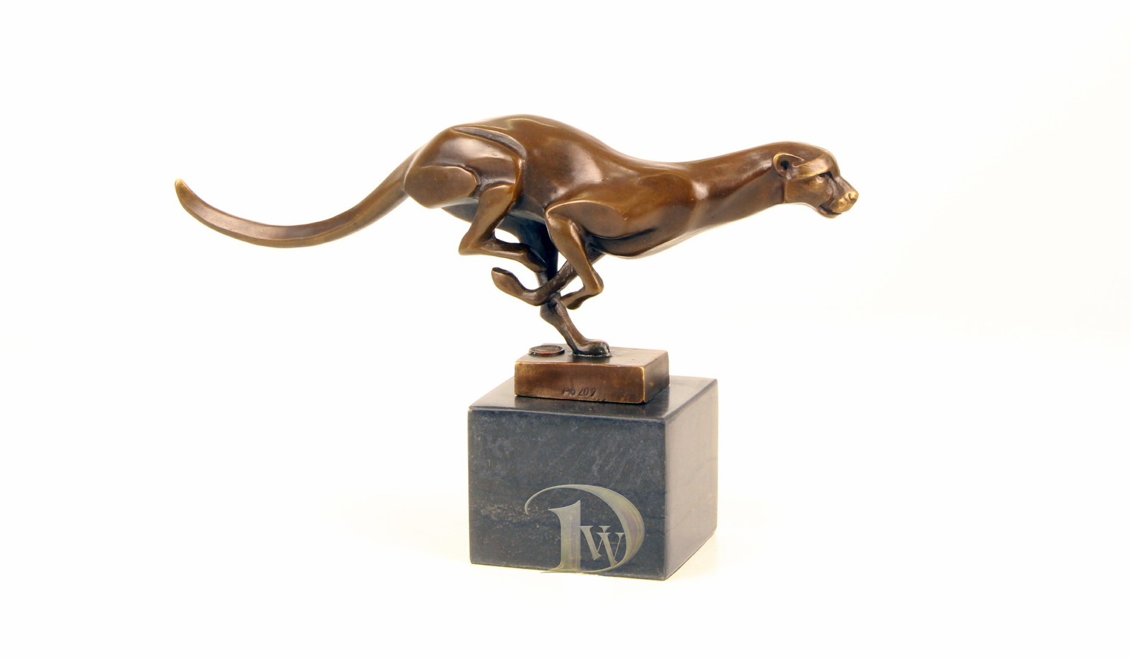 Antique Home Decor Bronze Sculpture Running Cougar, signed * Free Air Shipping