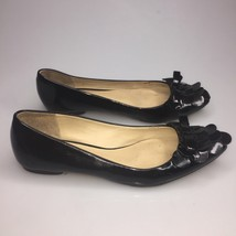 Kate Spade Bow Patent Leather Pointy Toe Black Flats Women's Size 6 M - $29.39