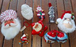 Lot 7 Santa Claus Christmas Ornaments Santa Face + Santa Ring Box (some ... - $3.66