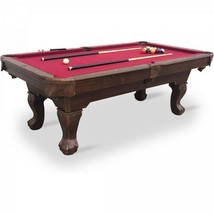 Pool Table - Red Cloth 87in. Claw Leg Table w Full Set of Billiard Acces... - $610.07
