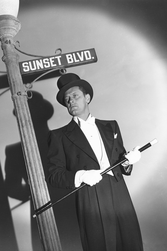 Primary image for William Holden in Sunset Blvd. Boulevard top hat posing by Sign 18x24 Poster