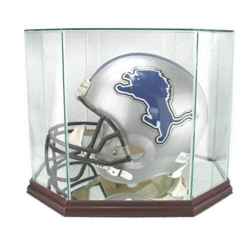 Full Size Football Helmet Display Case - Glass Top with Octagon Wood Base