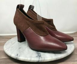 Via Spiga Bayne Burgundy Leather Solid Vamp Slip On Block Heels Womens Size 6 - $59.95