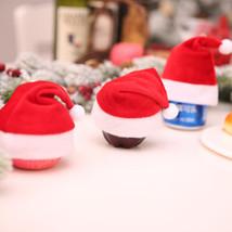 Mini Christmas Apple Wine Bottle Caps Santa Claus Hat Table Home Xmas Gift  - $8.00