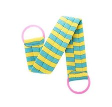 2 pieces Body Cleaning Bath Belts Towels Exfoliating Bath Belts, BLUE YELLOW