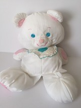 "Vintage Fisher Price Puffalump White Teddy Bear Stuffed Animal Bib 16"" #... - $35.00"