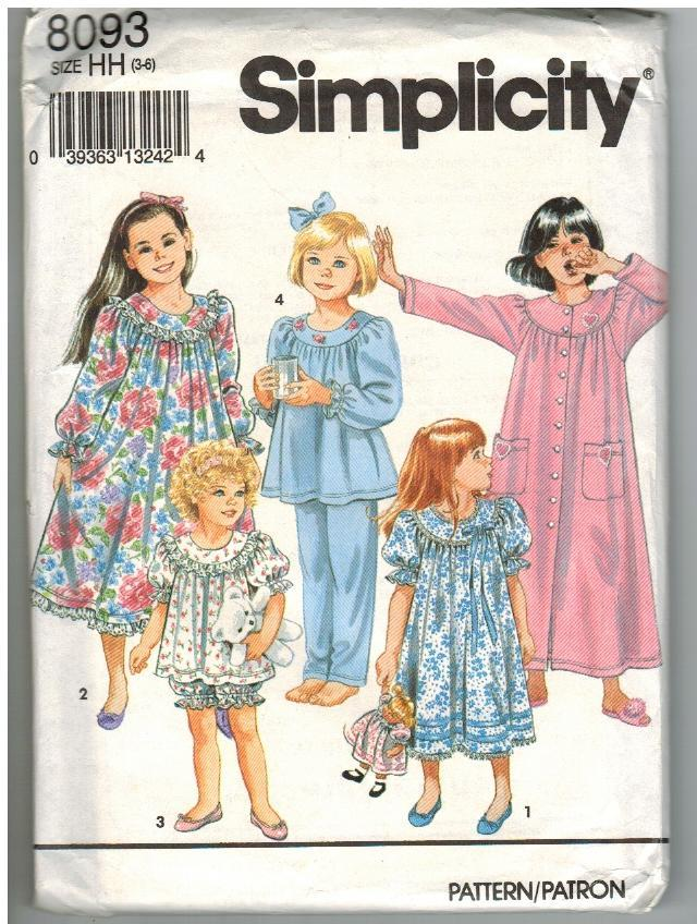 Simplicity Uncut Sewing Pattern #8093 Child's Nightgown Robe Pajamas Size HH 3-6