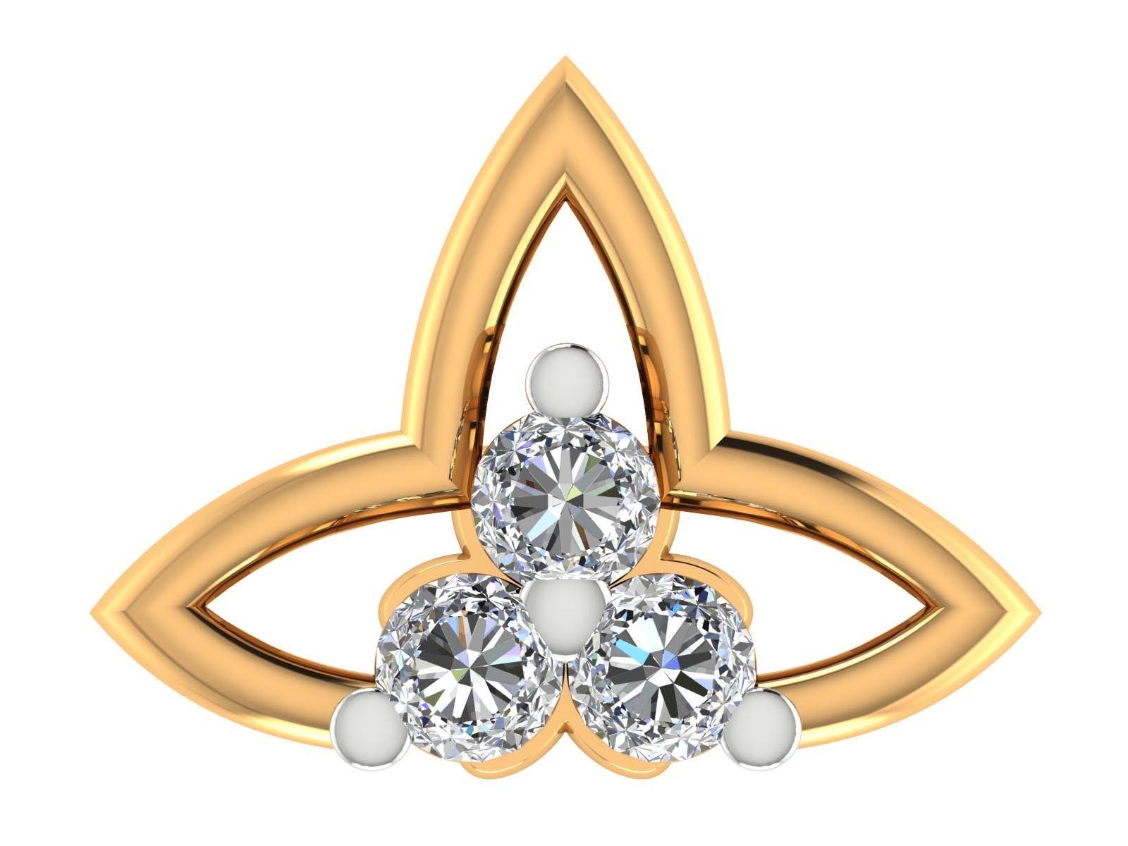 14k Yellow & White Gold Certified Real Diamond Nose pin Women Jewelry