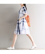 New White Blue Gray Nova Check Plaid Dress Short Sleeves Pockets Size XL... - $27.87