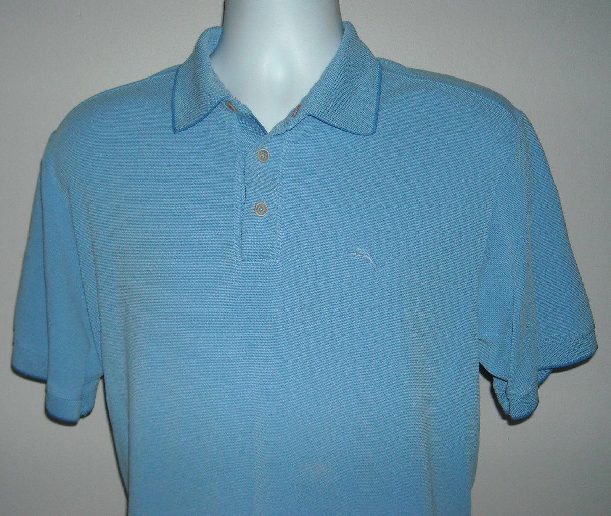 Mens Tommy Bahama Polo Shirt Medium embroidered marlin logo blue - $23.71