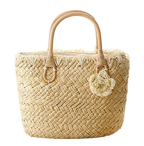 Fashion Vacation Item/Sweet Crochet Flower Straw Hand Bag/Beach Bag/Beige