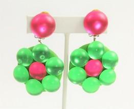 ESTATE Jewelry VINTAGE 80's GROOVY MOD COLORFUL DANGLE FLOWER POP ART EA... - $65.00